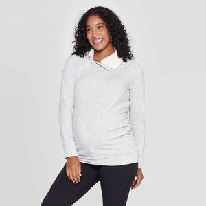Maternity Sherpa Fleece Sweatshirt Light Gray